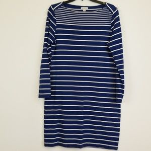 LL. Bean blue/white striped dress size 8